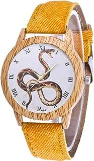 Women's Fashion Casual Leather Strap Analog Quartz Round Watch Dress Watch (Yellow)