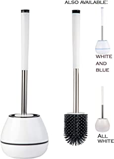 SaaGiio - Escobilla de baño y Soporte de Silicona (Blanco y Negro)