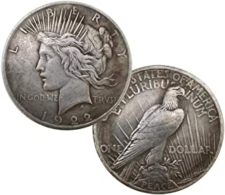 HARPIMER Coin Hobbies,1922 Statue of Liberty and Peace Coin 38MM Handmade Craft Silver Dollar Imitation Antique Coin Eagle...