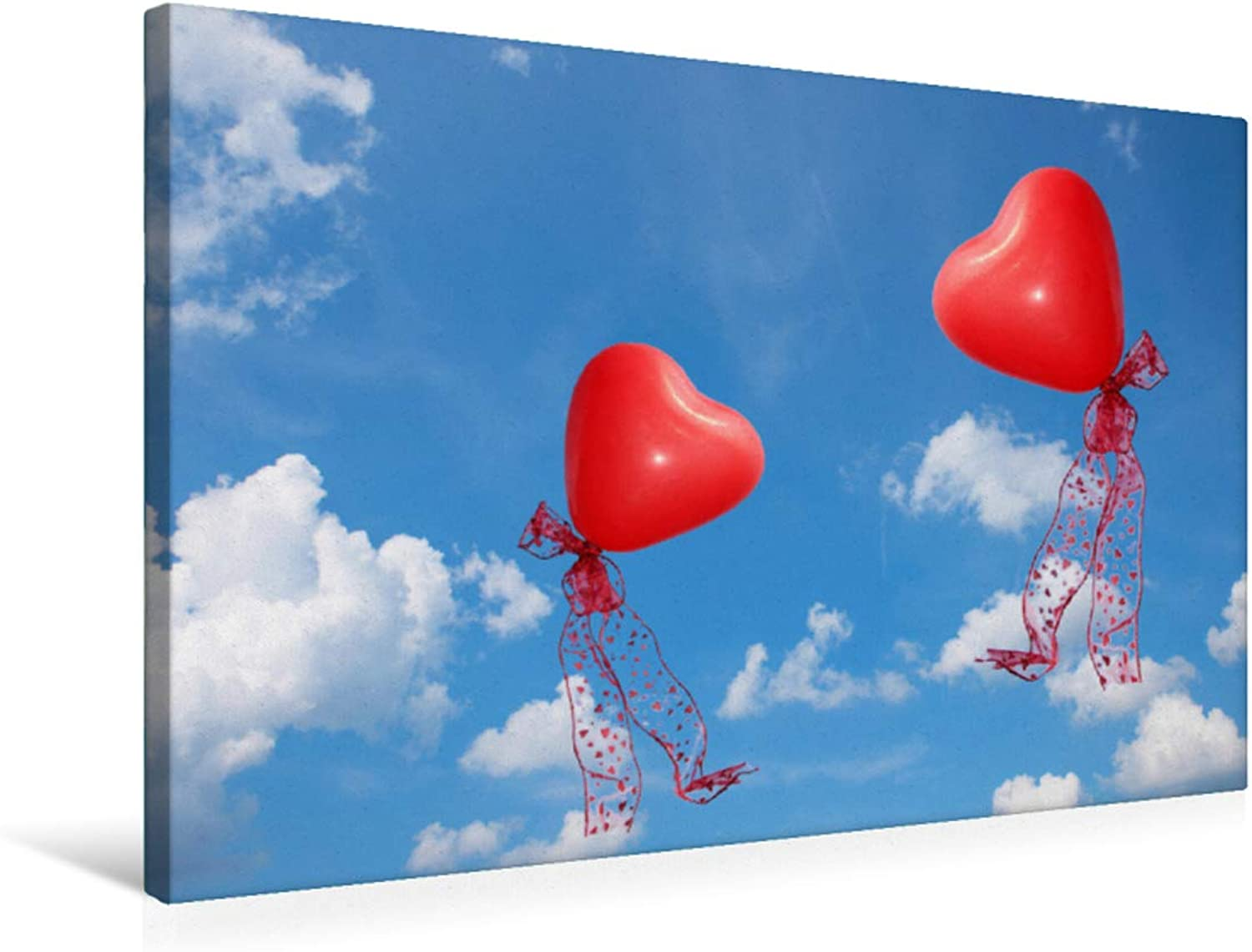 Red Balloon Hearts in The Sky, MultiColoured, 75x50