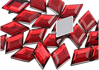 18x11mm Flat Back Diamond Acrylic Gems Pro Grade - 35 Pieces (Red Ruby H103)