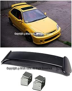 Extreme Online Store EOS Body Kit Rear Wing Spoiler with Silver Adjustable Alex Tilt Brackets - for Honda Civic EK 96-00 3 Door Hatchback 1996 1997 1998 1999 2000