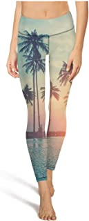 ZTUO Women's Yoga Pants Beach Tumblr Palm Hipster High Waist Jogging Leggings with Pocket