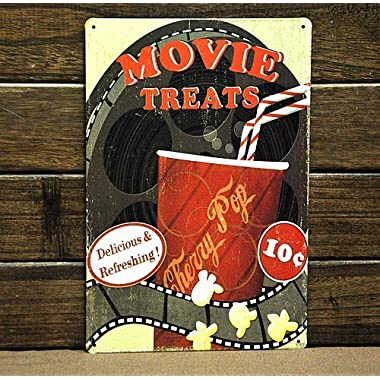 Movie Treats Popcorn Metal sign vintage Art decor House Cinema Metal Paintings B-53 Mix order 20*30 CM