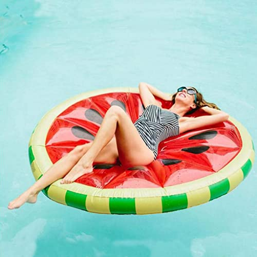 HYM Runde Wassermelone Schwimmring Schwimm Reihe Aufblasbare Schwimmen Schwimm Float Party Schwimmbad Spielzeug für Erwachsene Kinder 145 cm