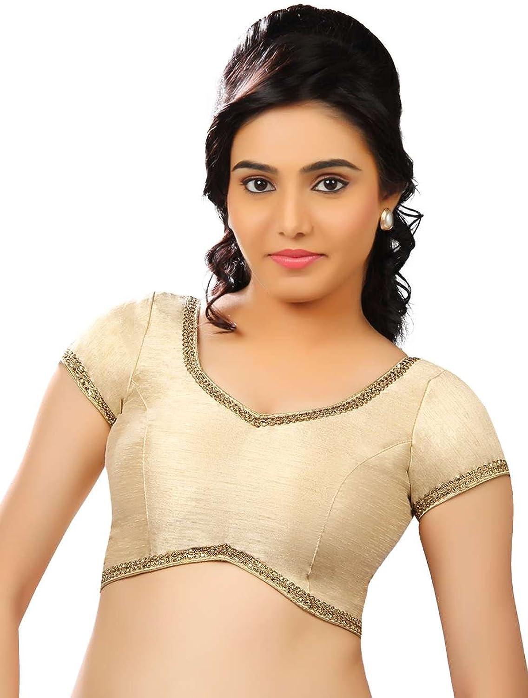 Classic golden Lace Border Beige Skin color Silk Saree Blouse Sari Choli  X203SL