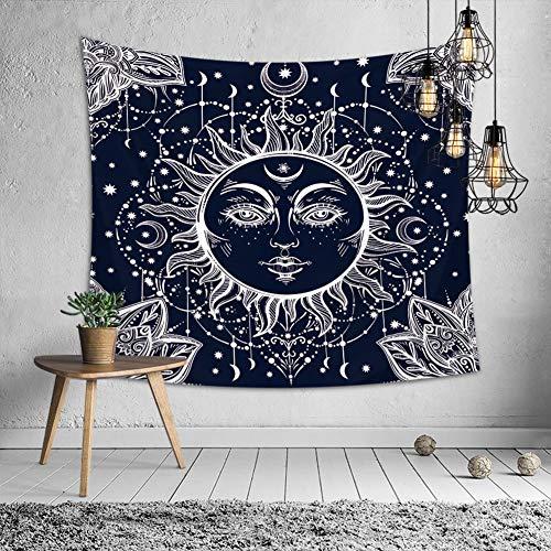 KHKJ Mandala Tapiz Indio Tai Chi Hippie Bohemio Provincia del Sol Luna Decoración Colgante de Pared Alfombra Arte de Dormitorio A15 150x130cm