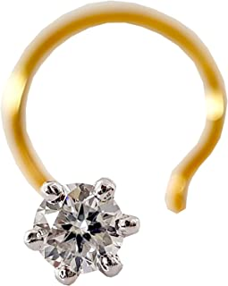 14k Gold Certified 2.2mm Natural Diamond Solitaire Nose Piercing Ring Stud Pin