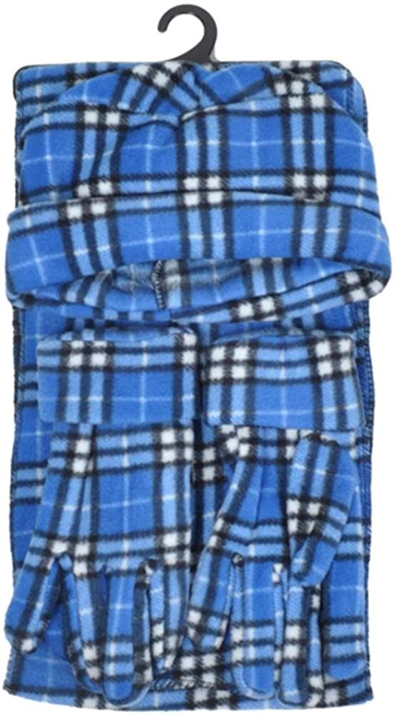 Women's Blue Fleece Plaid 3-Piece gloves scarf Hat Winter Set WSET8030