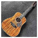 guitarra Personalizado 12 cuerdas sólidas Guitarra acústica clásica del tablero de ébano del cuerpo redondo de madera de la madera superior adecuado para jugadores en todas las etapas. Instrumento mus