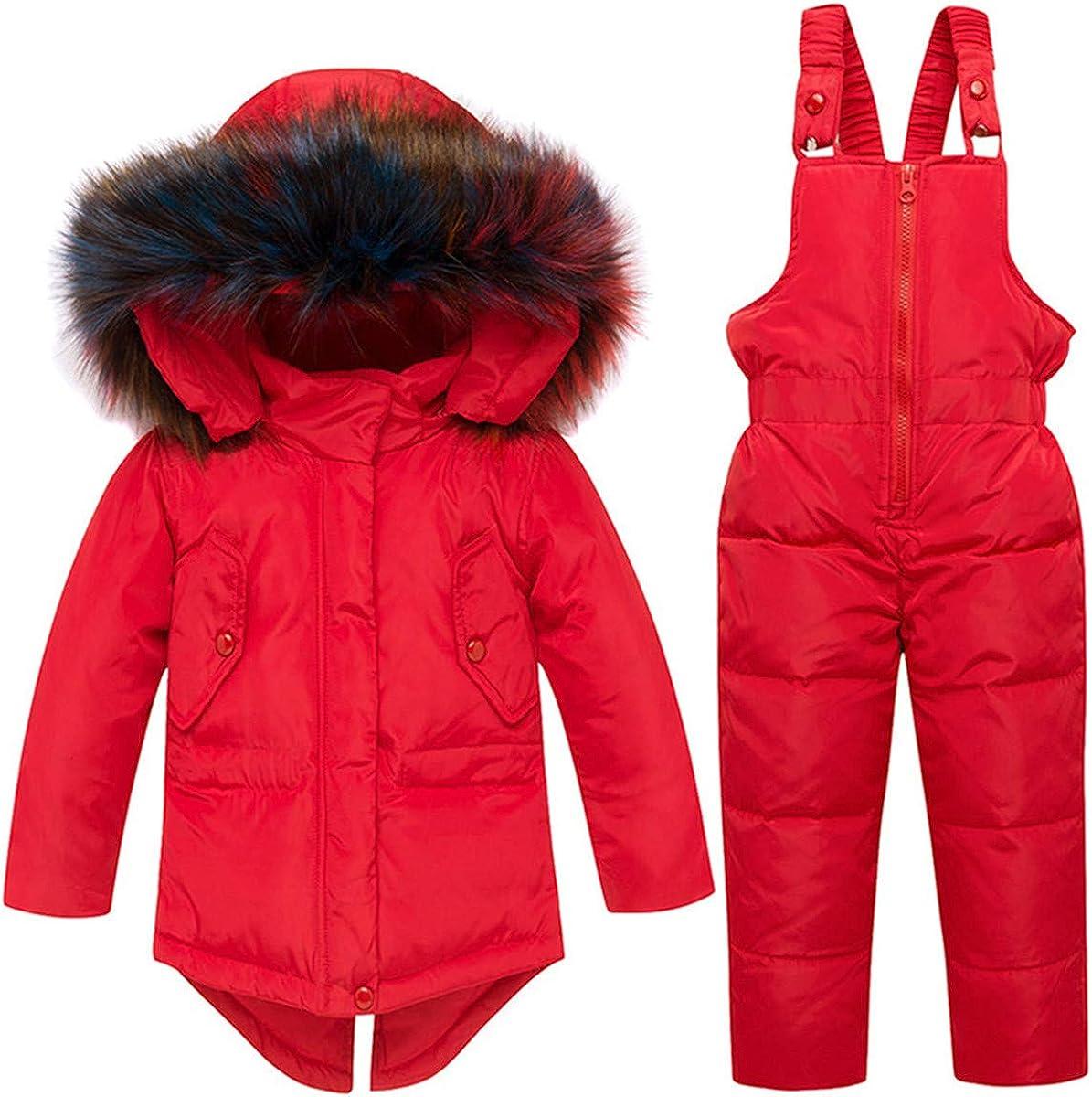 REWANGOING Baby Girls Winter Warm 2pcs Fur Trim Hooded Puffer Down Jacket Snowsuit+Snow Ski Bib Pants Set Outfits