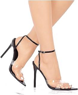 c1de525f5bef Women s Double Cross Clear Strap Pointy Open Toe Ankle Strap (10