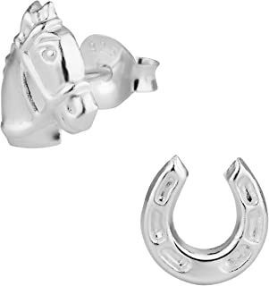 Hypoallergenic Sterling Silver Horse & Horseshoe Cute Mismatched Stud Earrings for Kids (Nickel Free)