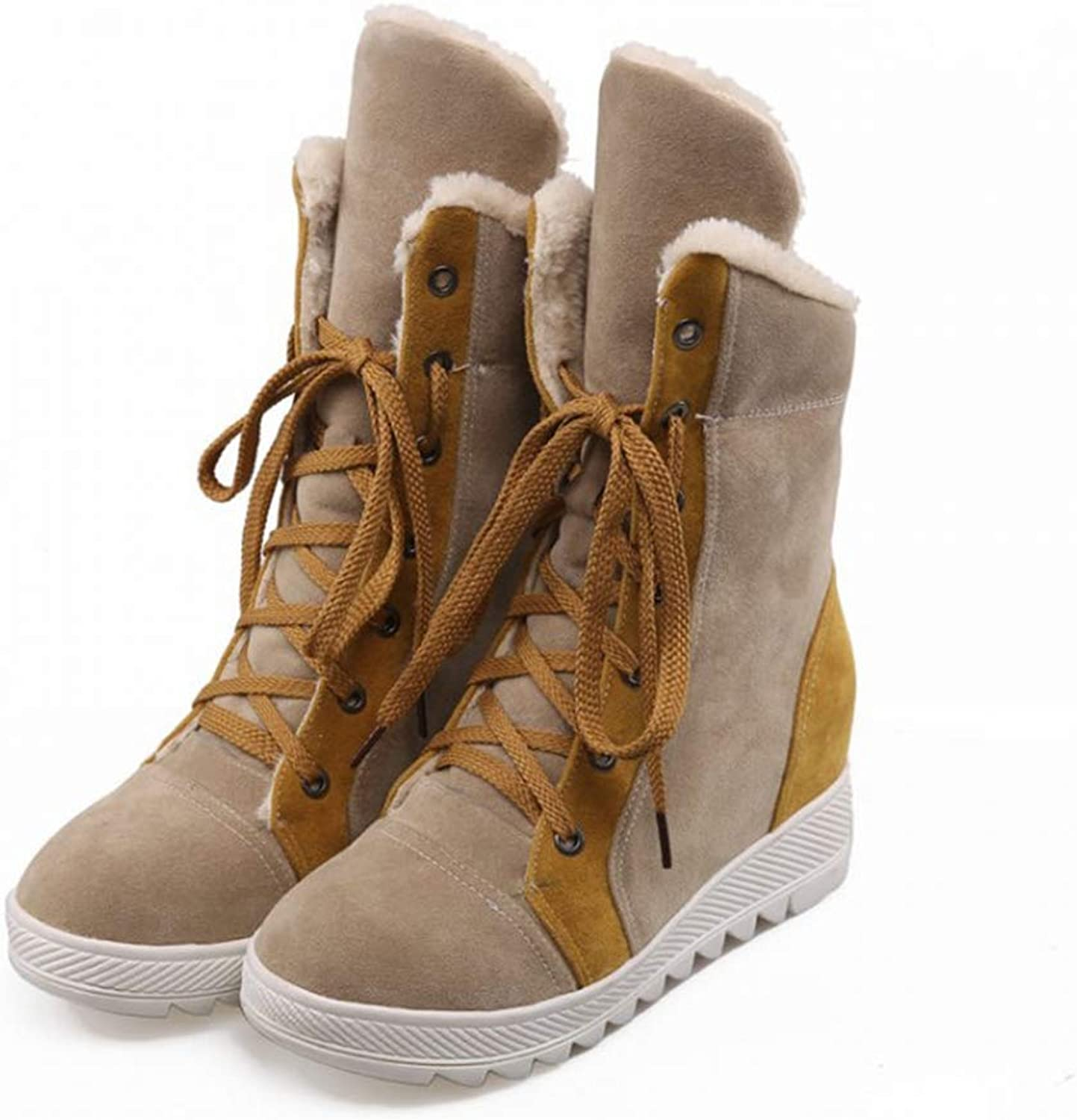 JOYBI Women Winter Round Toe Snow Boots Fur-Lined Warm Casual Height Increasing Folding Lace-up Ankle Boot