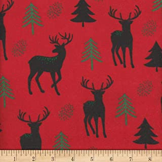 Mook Fabrics Flannel Snuggy Deer/Tree Fabric, Red, Fabric By The Yard