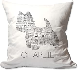 Pattern Pop Personalized Westie Word Silhouette Throw Pillow