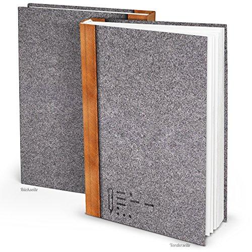 XXL Notizbuch Filz-Optik grau-braun DIN A4 164 leere weiße blanko Seiten Tagebuch groß Blanko-Buch...