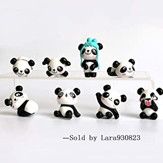 8 pcs (1 set) Cute Panda Toys Figurines Playset, Cake Decoration