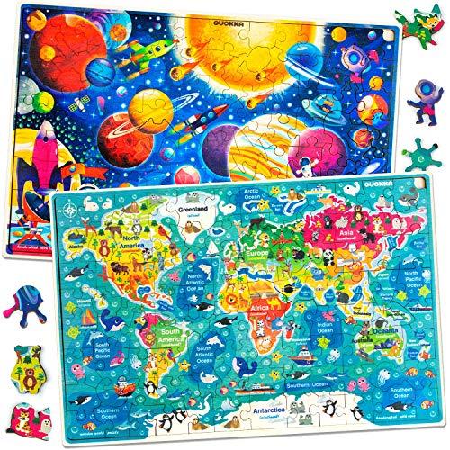Puzzle ab 4 5 6 Jahre - 2 x 100 Teile Kinder Holz Steckpuzzle für Lernen Weltkarte Weltraum Planeten - Geschenk Kinderspielzeug für Mädchen and Junge 7 8