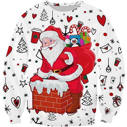 Ropa de hombre 3D Digital Navidad impresión Santa Claus suelta pareja cuello redondo suéter Blanco blanco L
