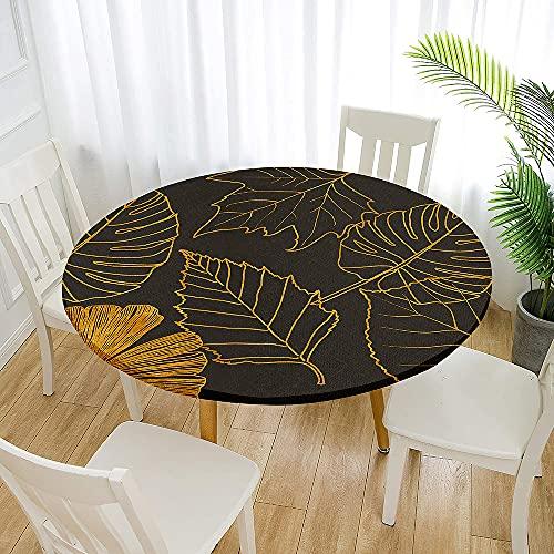Fansu Impermeable Redondo Mantel con Borde Elástico, 3D Plantas Tropicales Mantel de Mesa Ajustada Cubierta de Mesa para Picnic Comedor Cocina Restaurante Cena (Hojas caídas,Diámetro 180cm)