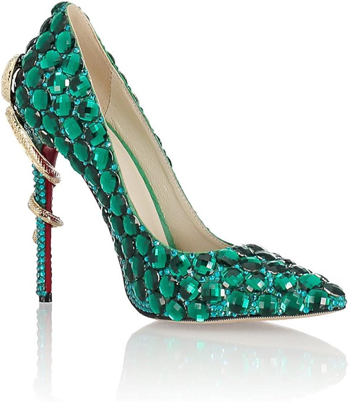 Lacitena Women Sexy Snake Heel High Heel Pumps Handmade Crystal Diamond Party Bridal shoes