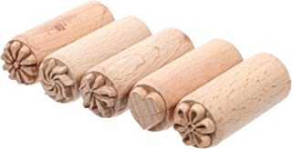 Artibetter 5 Pièces en Bois Argile Poterie Timbres Amour Coeur Fleur Plante Motif Bois Bloc Timbres Bricolage Poterie Outi...