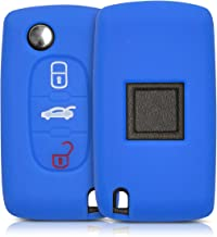 kwmobile Funda de Silicona Compatible con Llave de 3 Botones para Coche Peugeot Citroen - Carcasa Suave de Silicona - Case Mando de Auto Azul