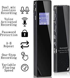 Digital Voice Recorder, Retround Audio Recorder 16GB Activated Recorder with Playback for Lectures Meetings, Class, Interviews, Dual Microphone One Step Recording RechargeableLossless Stereo HD