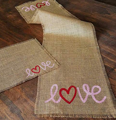 Amazon Com Rustic Valentines Day Placemats And Table Runner Rustic Valentines Day Table Decor Farmhouse Valentines Day Table Decorations Burlap Valentine Table Runner And Placemats Set Handmade