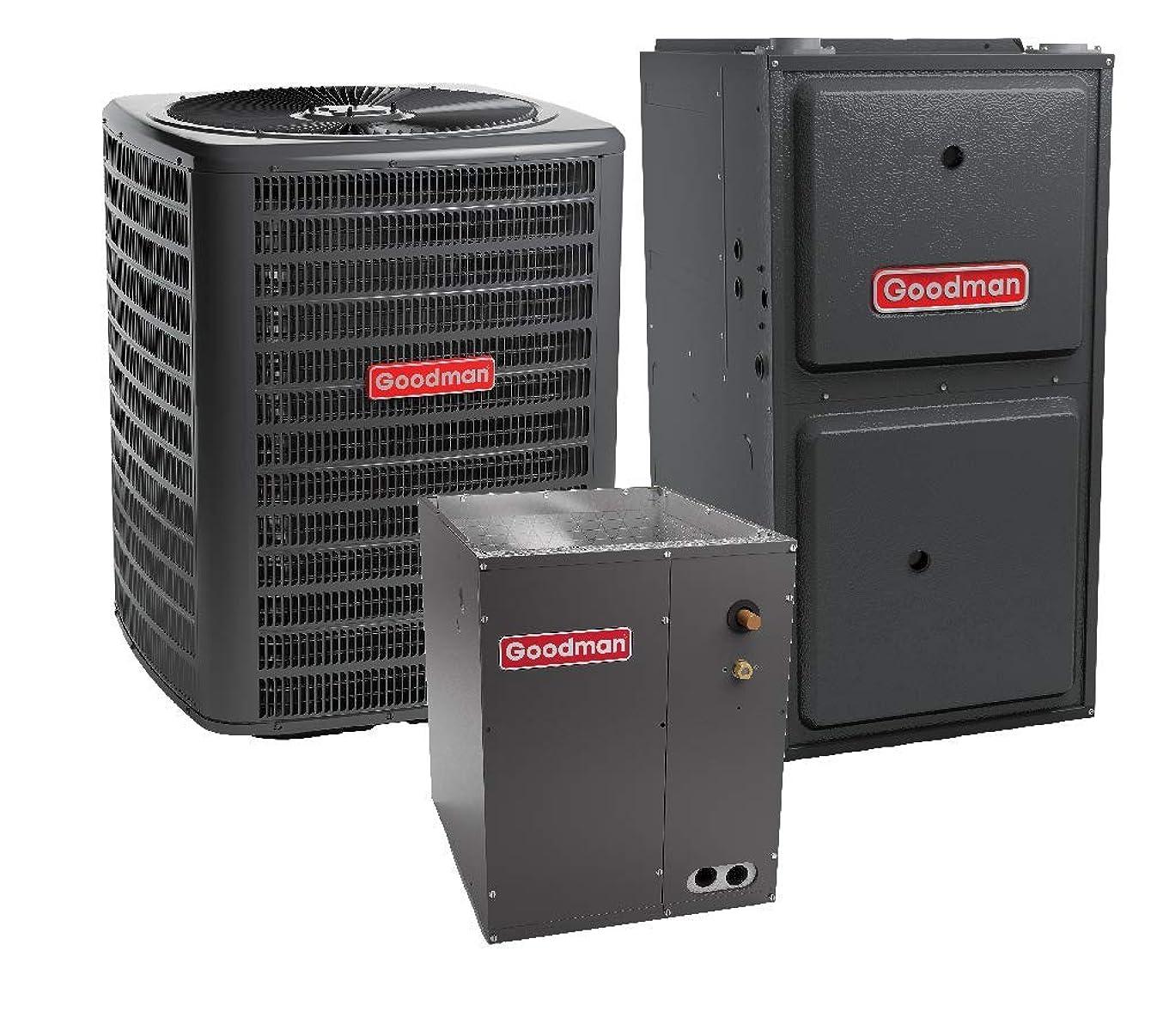 Goodman 2.5 Ton 14 SEER Air Conditioner GSX160301, Coil CAPF3137B6, 40,000 BTU 92% AFUE Downflow Gas Furnace GCSS920402BN