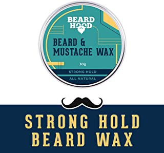 Beardhood All Natural Mustache And Beard Wax For Strong Hold, Natural Musky Scent 30G