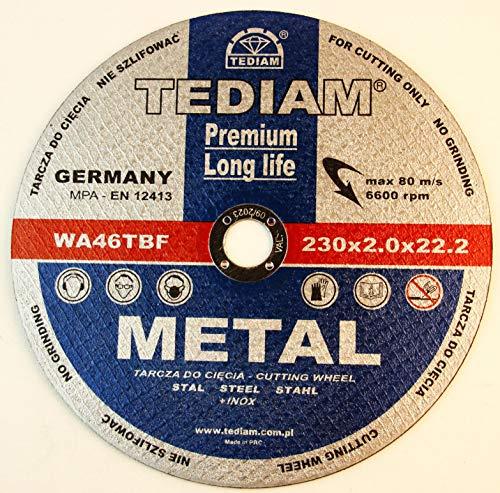 5 Stück Premium Long Life Trennscheibe für Stahl 230 x 2,0 mm A30TBF INOX EN12413 Tediam Metal