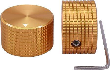 TWTADE / 2個ゴールデンカラーアルミニウムロータリー電子制御ポテンショメータノブ6 mm径シャフト、ボリュームコントロールノブ、オーディオノブ、ギターノブ、スイッチノブ、25 mm径 高