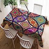 Violetpos Mantel de lino de fácil cuidado, lavable, antimanchas, estilo bohemio, cachemira, mosaico indio, 60 x 90 cm
