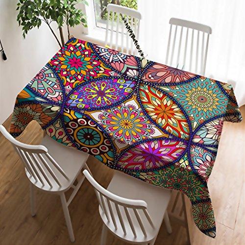 Violetpos Tischdecke Tischtuch Leinendecke Leinen Pflegeleicht Abwaschbar Schmutzabweisend Tischwäsche Bohemian Style Boho Paisley Muster Indischen Mosaik 130 x 170 cm