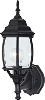 NOMA Four-Sided Outdoor Wall Lantern | Waterproof Outdoor Up-Facing Exterior Light for Front Door, Backyard, Garage, Patio or Décor | Black Finish with Bevelled Glass Panels