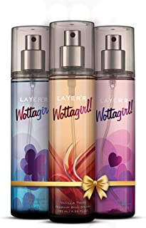 LAYER'R Wottagirl Body Splash Combo for women Pack of 3 Vanilla Twist, Mystic Island, Secret Crush 135ml