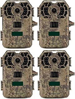 Stealth Cam G42NG No-Glo Trail Game Camera (4- Pack Bundle), Black IR Infrared Flash, 100 ft Range, Records HD Video