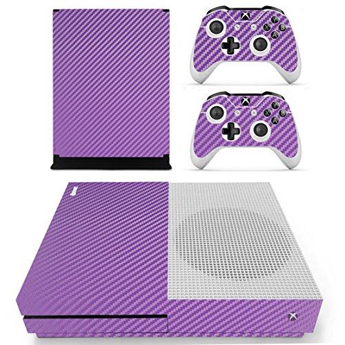 DOTBUY Vinilo Modelo Skin Adhesivo Calcomanías de Piel para Xbox One S Consola & Wireless Controller Morado Carbon Fiber Purple