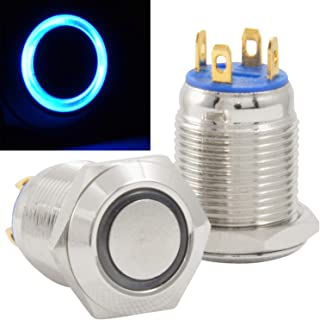 JacobsParts Momentary Pushbutton Starter Switch Stainless Steel Silver with Blue LED fits 1/2