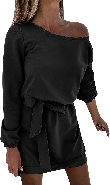 SoeHir Women Casual Solid Dress Long Sleeve Belt Cold Shoulder Loose Mini Dress
