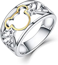 JO WISDOM 925 Sterling Silver and Yellow Gold Plated Mickey Mouse Ring