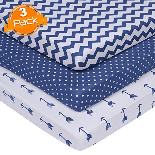 Pack n Play Sábanas - Pack and Play Sábanas 3 Pack - 100% algodón super suave jersey tejido playard sábanas - Parque de juegos portátil - Mini Sábanas para niños y niñas (24 x 38 x 5)
