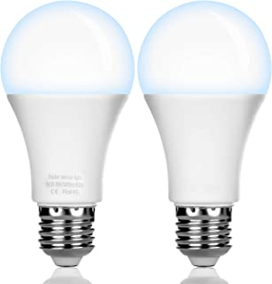 AUAAQ 7W Radar Soner LED Light Bulb 6500K W26/E27 Automatic On/Off Indoor/Outdoor Lighting Lamp for Porch, Hallway, Patio, Garage 2PCS