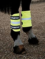 Yellow arm or leg bands suitable for both horse and rider. Fleece lined and held in place with touch close fastenings. Sold in pairs.