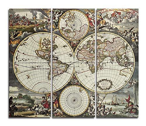 Orlco Art Toile murale vintage avec motif carte du monde - Impression sur toile encadrée et tendue pour le salon - Prête à accrocher - Marron - 40,6 x 122,9 cm - 3 pièces (121,9 x 122,9 cm)