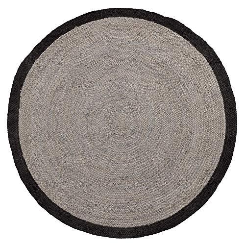 Kave Home - Alfombra Redonda Saht Ø 150 cm de Yute Natural con Estampado Tintado en Negro