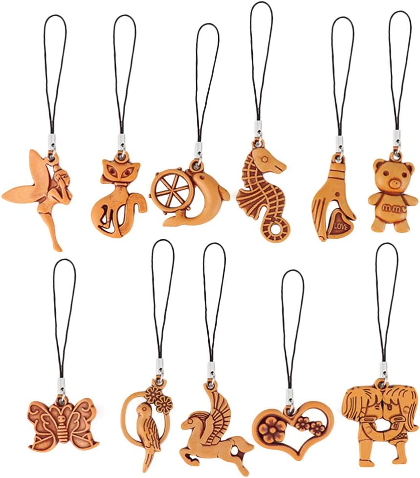 PRETYZOOM 100PCS Wood Pendant Chic Phone Chain Decor Delicate Keyring Hanging Decor Multi-Purpose Hanging Pendant Creative Keychains Pendant for Backpack Keychain Phone Bag