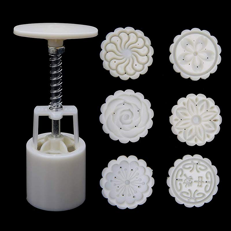 MOMU 6 Rose Flower Stamps Moon Cake Decor Mould Round Mooncake Mold Tool 50g DIY